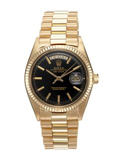 """Vintage Rolex 18k Yellow Gold """"President"""" Oyster Perpetual Day-Date (c. 1966)"""