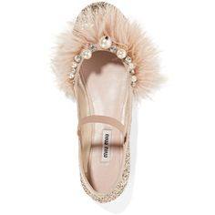 Miu Miu Faux pearl, crystal and feather-embellished glittered leather... (€615) ❤ liked on Polyvore featuring shoes, flats, flat shoes, ballet flats, ballet pumps, leather ballerina flats and slip on shoes