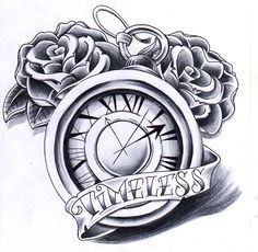 pocket watch with roses and banner