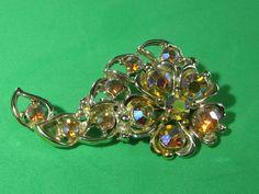 Citrine Colored Brown Rhinestone Flower Floral Brooch Pin Vintage Stylish Elegant Ladies Jewelry by HipTrends2015 on Etsy