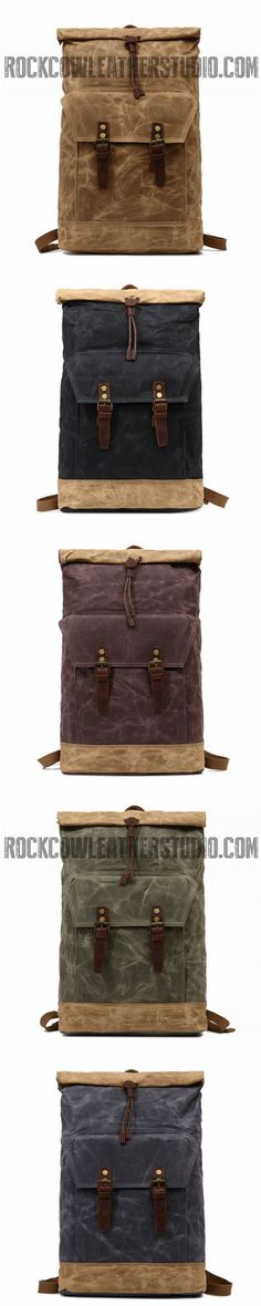 Waterproof Canvas Backpack, Handmade Travel Bag, Laptop Bag FX903