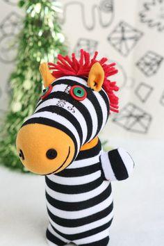 Handmade Sock Zebra Stuffed Animal Doll Baby Toys by Toyapartment, $12.90