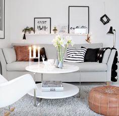 Interior style white, black , grey & vintage brown