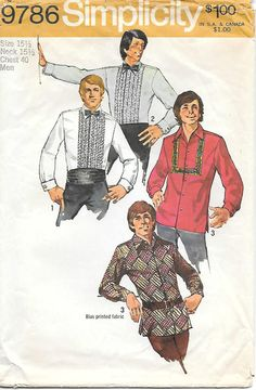 1970's Simplicity 9786 Men's Hippie Shirt or Tux Sewing Pattern, offered on Etsy by GrandmaMadeWithLove