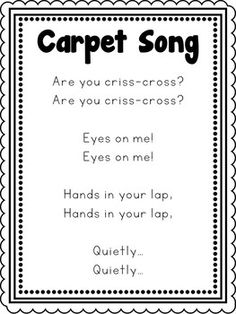 Carpet Song Poster by Carolyn's Creative Classroom Miss Hacker Preschool Poems, Kindergarten Songs, Preschool Music, Preschool Lessons, Preschool Learning, Circle Time Songs, Circle Time Activities, Circle Time Ideas For Preschool, Toddler Classroom