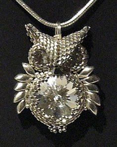 """silver rivoli owl 1/2 - From Carl's Beading Table: Owl Pendant / Anhaenger """"Eule"""""""