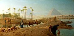 Egypt , Old Cairo Paintings: Subsiding of the Nile by Frederick Goodall R.A - 1822-1904