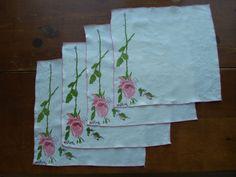 1960s Vera Neumann Pink Long Stemmed Rose Linen by bycinbyhand