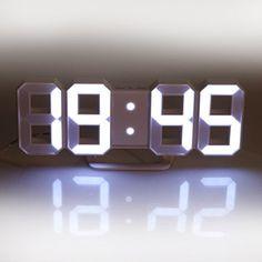 Lily's Home Minimalist LED Clock - Digital Led Desk / Wall Clock (White)