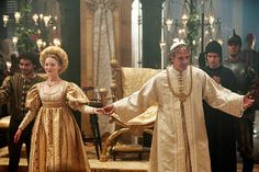 Holliday Grainger as Lucrezia Borgia and Jeremy Irons as Rodrigo Borgia in The Borgias ...Lucrezia and Alfonso's wedding day