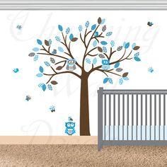 Nursery Wall Decal, Vinyl Tree Decals, Boys Nursery Wall Decals, Blue Wall Decals, Blue Decals, Vinyl Wall Decals, Nursery Wall Art, Owl Art