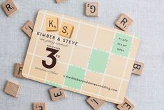 scrabble wedding invite | ... their monogram throughout the suite and on their wedding favors too