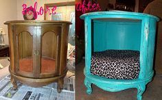 Thrift Store End Table Turned Into A Dog Bed. Or cat bed ! Dog Furniture, Refurbished Furniture, Furniture Makeover, Painted Furniture, Eclectic Furniture, Furniture Cleaning, Distressed Furniture, Upcycled Furniture, Furniture Stores