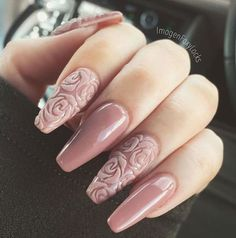 "If you're unfamiliar with nail trends and you hear the words ""coffin nails,"" what comes to mind? It's not nails with coffins drawn on them. Although, that would be a cute look for Halloween. It's long nails with a square tip, and the look has. Rose Nails, Pink Nails, My Nails, White Nails, Ivory Nails, Nail Black, 3d Flower Nails, Rose Nail Art, Fabulous Nails"