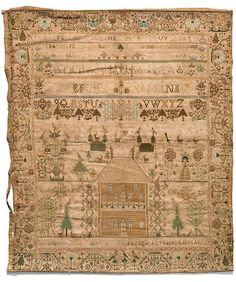 A rare and important silk and linen needlework sampler wrought by Phebe Walton, Probably Cumberland County, Virginia, fourth quarter 18th century