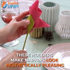 Our Flower Napkin Holders are shaped to look like long, lovely floral stems and turn ordinary napkins into blossoming flowers! Transform a regular napkin into a stunning rose, tulip or amaryllis in seconds by simply twisting Craft Projects, Projects To Try, Diy And Crafts, Paper Crafts, Napkin Folding, Decoration Table, Paper Flowers, Diy Flowers, Party Planning