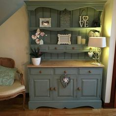 Gorgeous Welsh dresser painted in Frenchic Scotch Mist with a mix of both clear and rustic waxes for depth and age