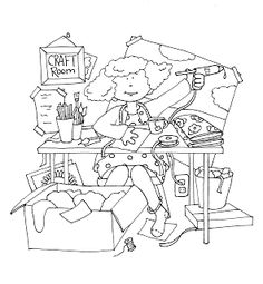Messy Craft Room.... yes, a more realistic view..lol (Free Dearie Dolls Digi Stamps)