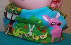 Puppen Teddy Loop Schlupfschal Bambi Reh Rehkitz Eulen Hase Schmetterling ZNOK