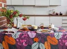 Ruusunmarja Fabric | Pentik Autumn 2017 | Designed by Liina Harju, Ruusunmarja (Rosehip) pattern is like a vitamine bomb. Colourful Ruusunmarja gives a final touch to your table setting and depending on the tableware, is perfect for both everyday settings and celebrations. Made of 100 % cotton.
