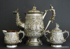 Burmese silver tea set - gorgeous detail
