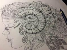 illustration by Noah's ART  Tribal Sheep girl  Botanical × Sheep × Tribal