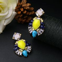 Yellow Blue designer Earrings