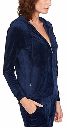 Gloria Vanderbilt Ladies Velour Hooded Jackets For Women blue