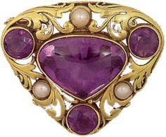 "Brooch/pin, amethysts, yg, pearls, c. 1910-20, signed ""F.G. Hale"" for Frank Gardiner Hale, Boston, MA"