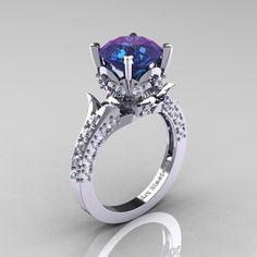 Classic French 14K White Gold 3.0 Carat Chrysoberyl Alexandrite Diamond Solitaire Wedding Ring R401-14KWGDAL #alexandrite #diamond #ring #june #birthstone #wedding #engagement #fine #jewelry
