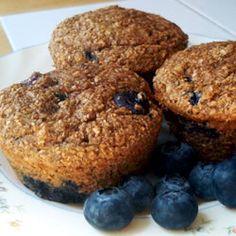 Low-Fat Blueberry Bran Muffins (100 calories per muffin)