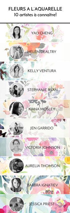 Inspiration garantie. Découvrez 10 artistes peignant des fleurs à l'aquarelle modernes, fluides et contrastées, chacune avec son style.