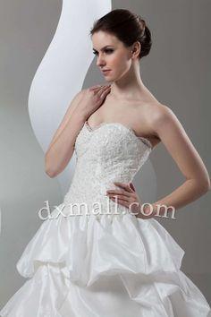 Pick Up Wedding Dresses Sweetheart Court Train Taffeta Satin Ivory 010010900986
