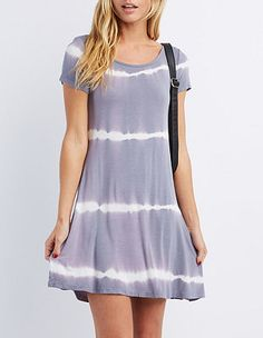 Tie-Dye Trapeze Shift Dress