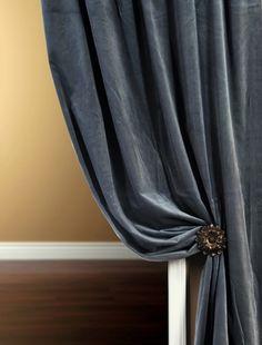 Slate Blue velvet curtains