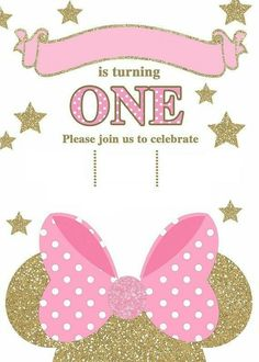 Minnie Mouse Pink Gold Birthday - Pink And Gold Minnie Mouse Birthday Invitations Minnie Mouse Rosa, Fiesta Mickey Mouse, Minnie Mouse Theme, Pink Minnie, Minnie Mouse Birthday Invitations, Minnie Mouse First Birthday, Pink Invitations, Digital Invitations, Mickey Birthday
