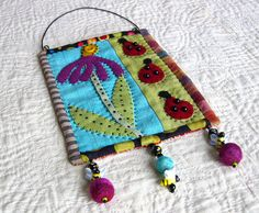 garden wall quilt - original folk art - wall hanging - home decor. With a Christmas theme? Fabric Beads, Fabric Art, Fabric Crafts, Penny Rugs, Textile Jewelry, Fabric Jewelry, Small Quilts, Mini Quilts, Quilting Projects