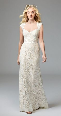 For the modern boho bride, look no further than our Twilla gown. Made of Zuzu Stretch Lace, this style is the perfect blend of soft and structured. Twilla features a Queen Anne neckline and keyhole back, and is trimmed with Grosgrain Ribbon detailing.