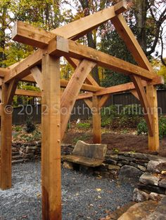 timber frame garden structure, outdoor living, woodworking projects, Looking into the structure