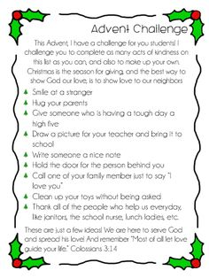Advent Challenge for CCD, Catechism, or Sunday School classes. Great for celebrating the Christmas Season in a holy way. Made by Little Miss Catechist Religion Activities, Advent Activities, Sunday School Activities, Sunday School Crafts, Christmas Sunday School Lessons, Christmas Activities, Christmas Projects, Christmas Traditions, Advent Catholic