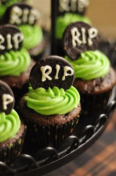 Halloweenie Roast - Oreo Tombstone Cupcakes from yourhomebasedmom.com