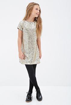 Sequined Satin-Trimmed Shift Dress (Kids) | FOREVER21 girls - 2000117152
