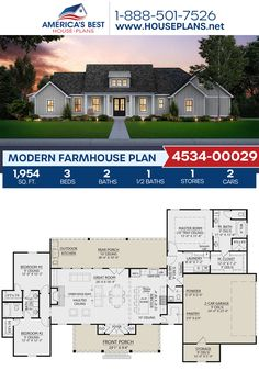 Get ready to be the envy of your block with this Modern Farmhouse! 3 bedrooms bathrooms split bedrooms a kitchen island an open floor plan a mudroom and a 2 car garage. Ranch House Plans, Craftsman House Plans, Best House Plans, Dream House Plans, Dream Houses, New Houses, Open Floor Plans, Modern Bungalow House Plans, House Architecture