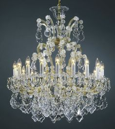 Maria Theresa chandeliers |  classic clear and gold Maria Theresa style crystal chandelier