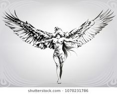Find Girl Wings Eagle stock images in HD and millions of other royalty-free stock photos, illustrations and vectors in the Shutterstock collection. Stomach Tattoos, Body Art Tattoos, Sleeve Tattoos, Eagle Wing Tattoos, Valkyrie Tattoo, Eagle Art, Angel Tattoo Designs, Eagle Wings, Illustration