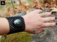 Hematite Macrame Bracelet, Black Fishnet bracelet, Gothic Macrame Bracelet, Goddess Macrame Bracelet, ready to ship by TheTomentosaShop on Etsy