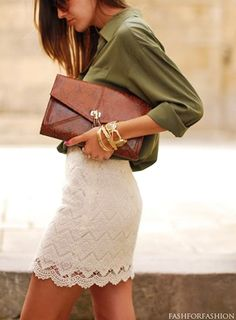 crochet skirt, olive green