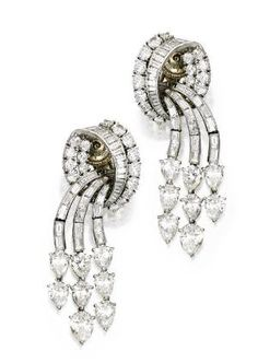 CARTIER Platinum and Diamond Pendant-Earclips, Cartier, Circa 1951 by chrystal
