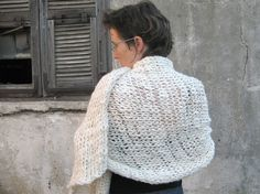 On Sale OOAK Hand Knitted Cashmere Shawl Offwhite di duende74