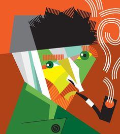 Vincent van Gogh - by Pablo Lobato Illustration Art Drawing, Graphic Illustration, Arte Pink Floyd, Pop Art, Cubism Art, Art Drawings Beautiful, Arte Pop, Geometric Art, Van Gogh